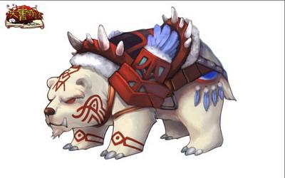 一头白熊背着木质鞍具